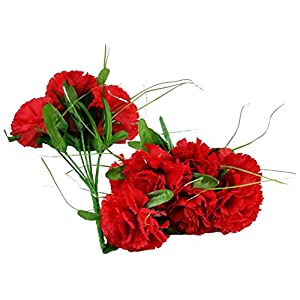 MM TJ Products Artificial Red Carnation Bush; 7 Stems (2 Bushes) 73