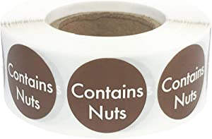 Contains Nuts Labels .75 Inch Round Circle Dots 500 Adhesive Stickers