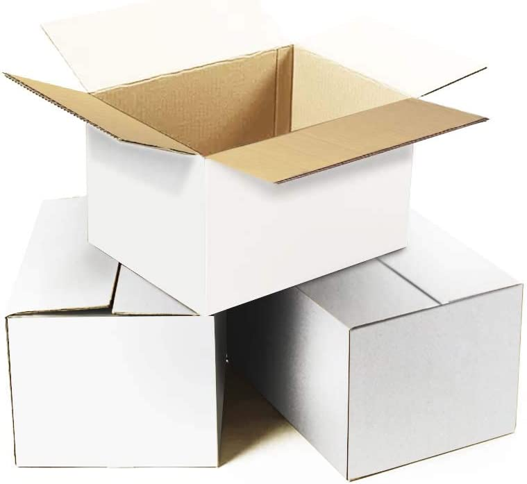 Calenzana 8x6x4 Shipping Boxes Set of 25, Small Corrugated Cardboard Box for Mailing Packing Gifts, White : Office Products
