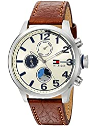 Tommy Hilfiger Mens Quartz Stainless Steel and Leather Casual Watch, Color:Brown (Model: 1791239)