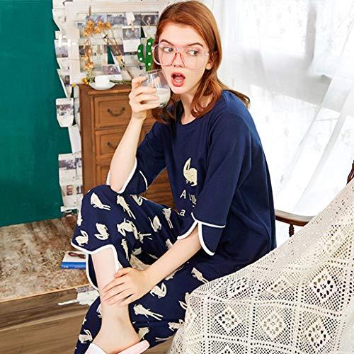 Piezas Suelta colored Conejo L Longitud De Manga Las colored Tamaño Gran Impresión Algodón Una Pieza Multi Media Pijamas Size Mujeres color Dos Multi O5q4zxRB