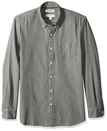 Goodthreads Men's Standard-Fit Long-Sleeve Denim Shirt, Washed Grey, Medium Tall