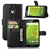 DROID MAXX 2 Wallet Case, Lwang Flip Folio Pu Leather Wallet Pouch Case Cover with Stand Card Slots for Motorola Moto X Play (leather black)