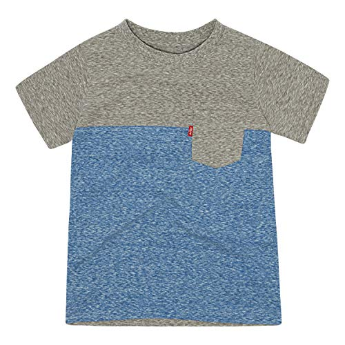 Levi's Boys' Toddler One Pocket T-Shirt, Grey Heather/Blue, 4T (Blue Ringer)
