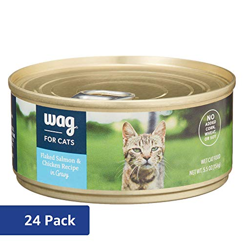 Amazon Brand - Wag Wet Cat Food, Flaked Salmon & Chicken Recipe in Gravy, 5.5 oz Can (Pack of 24)