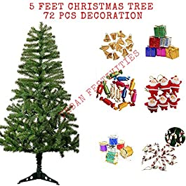 Urban Festivities® Five 5 Feet Xmas Tree + 72 Pcs Decoration for Christmas Tree, Perfect for Christmas Decoration 5 Ft + 72 pcs Christmas Tree with Decoration