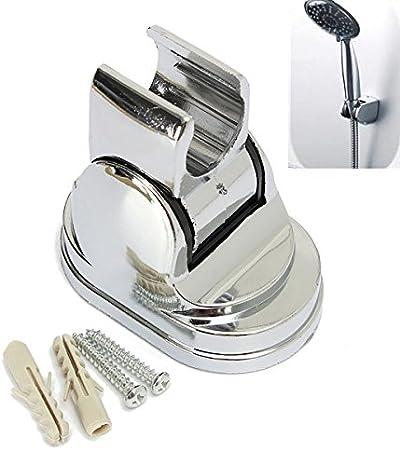 White ABS Bathroom Hand Adjustable Shower Head Wall Mount Fixed Bracket Holder