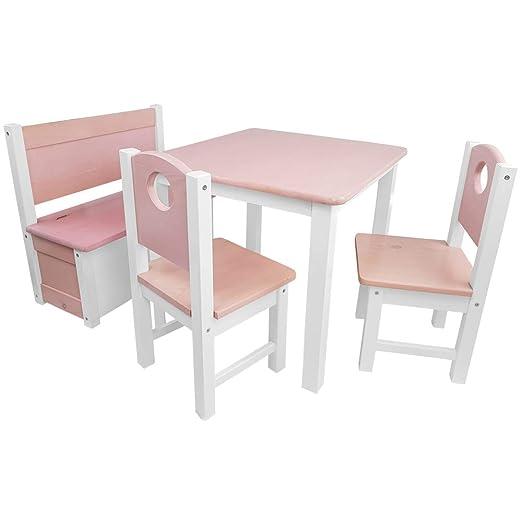 Kinder-Sitzgruppe - Kinderzimmer Set: 1 Tisch, 2 Stühle und Truhenbank - Top Möbel-Qualität aus Kiefer Massivholz - Kindertis