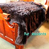 Fur Accents Faux Fur King Size Bedspread / Throw Blanket / Black 96'' X 120'' King Size