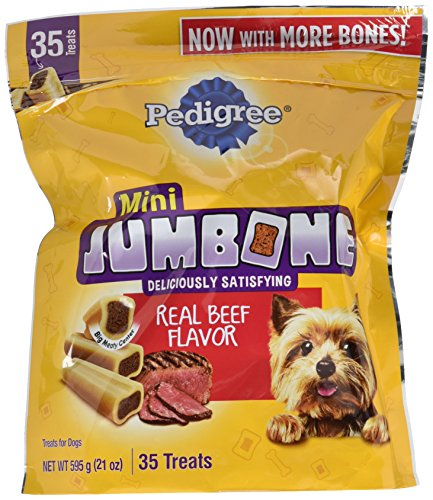 PEDIGREE JUMBONE Real Beef Flavor Mini Dog Treats - 21 Ounces (35 Treats) ()