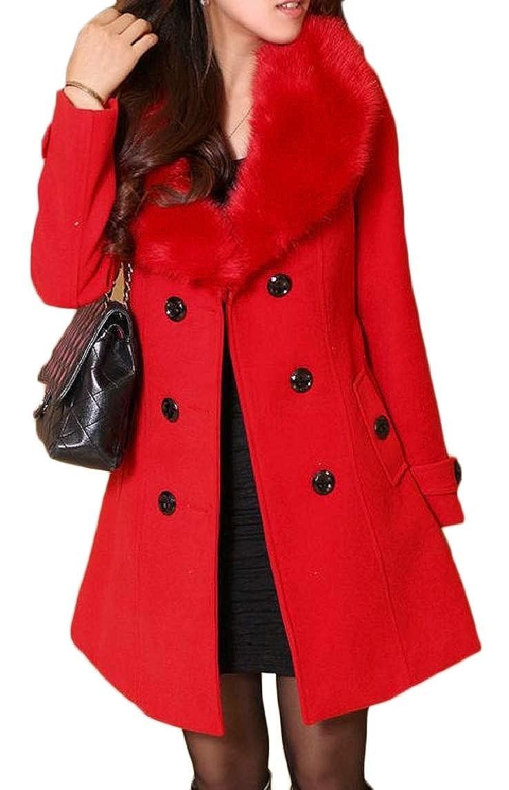 Red pujinggeCA Women Winter DoubleBreasted Slim Solid WoolBlend Winter Overcoats