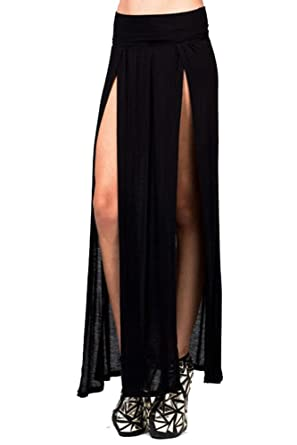 0a29d1a607ed9a Vivicastle Sexy High Waisted Double Slits Open Knit Long Maxi Skirt (Small,  Black)