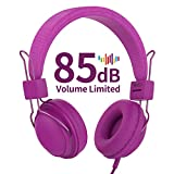 AILIHEN HD850 Kids Headphones with Mic&Music Sharing port, 85dB Volume Limited On-Ear Wired headset for Boys Girls Teens Children Toddler(Purple)