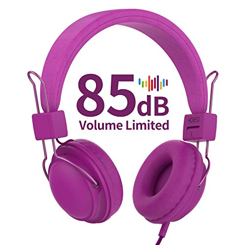 AILIHEN HD850 Kids Headphones with Mic&Music Sharing Port, 85dB Volume Limited On-Ear Wired Headset for Boys Girls Teens Children Toddler(Purple) by AILIHEN