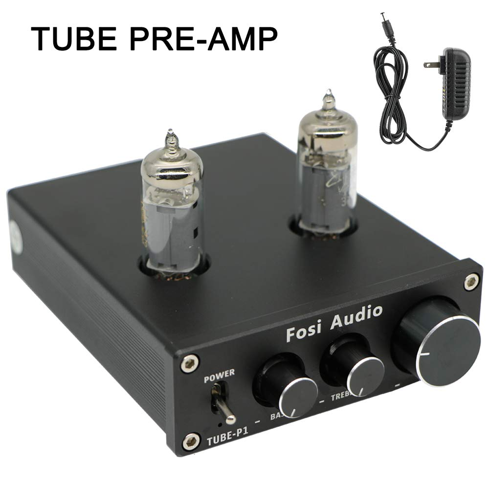 Fosi Audio P1 Tube Pre-Amplifier Mini Hi-Fi Stereo Buffer Preamp 6K4 Valve & Vacuum Pre-amp with Treble & Bass Tone Control for Home Theater System by Fosi Audio