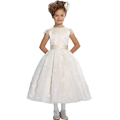 b2c24e0b4f1 Lilis Flower Girls Dress White Ivory Kids First Communion Party Wedding  Dresses Long Flower Girl Dresses  Amazon.co.uk  Clothing