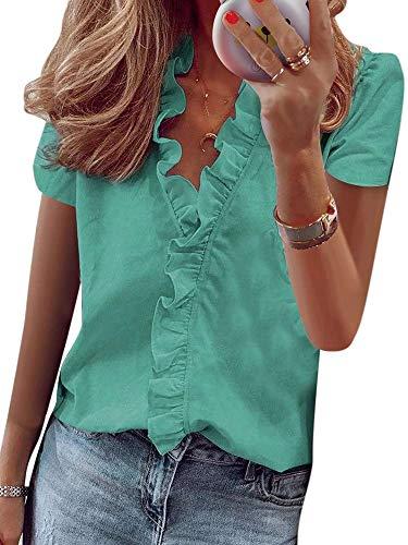 Abtel Dames losse casual bedrukt shirt met lange mouwen blouse tops pullover tuniek ruffle