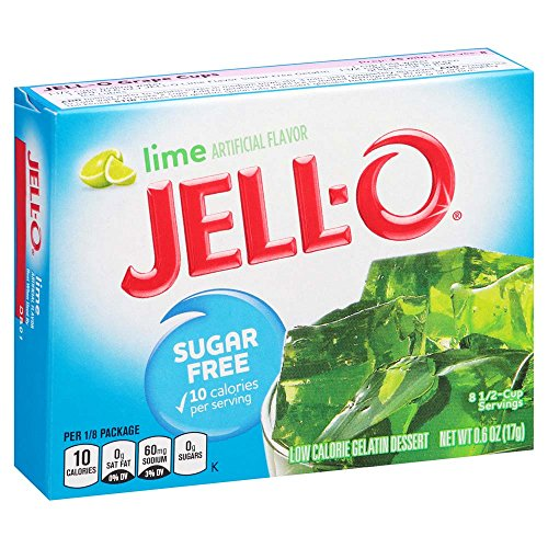 JELL-O Lime Sugar Free Gelatin Dessert Mix (0.6 oz Boxes, Pack of 6)