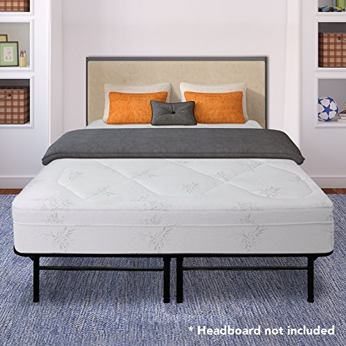 Best Price Mattress 12″ Grand Memory Foam Mattress and 14″ Premium Steel Bed Frame/Foundation Set, Queen