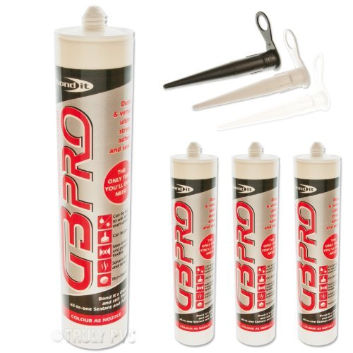 3 x White GB Pro Builders Silicone Adhesive & Sealant - Super Strong Glass Wood UPVC Steel Silicone free sealent by Truly PVC Supplies