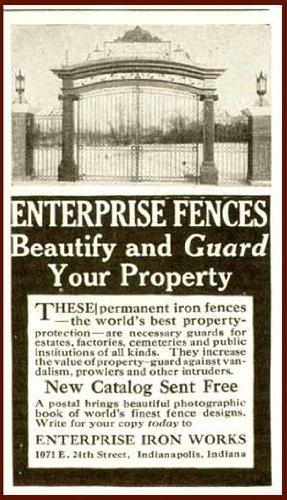 1916 Enterprise Iron Works AD for Iron Estate Gates Original Paper Ephemera Authentic Vintage Print Magazine Ad/Article