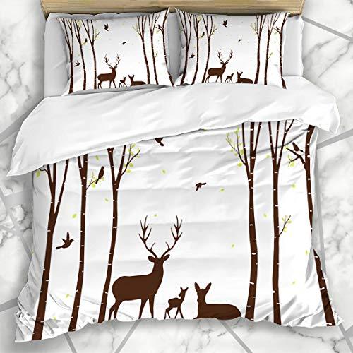(Ahawoso Duvet Cover Sets Queen/Full 90x90 Natural Aspen Birch Tree Deer Birds Autumn Bark Branch Couple Fall Forest Microfiber Bedding with 2 Pillow Shams)