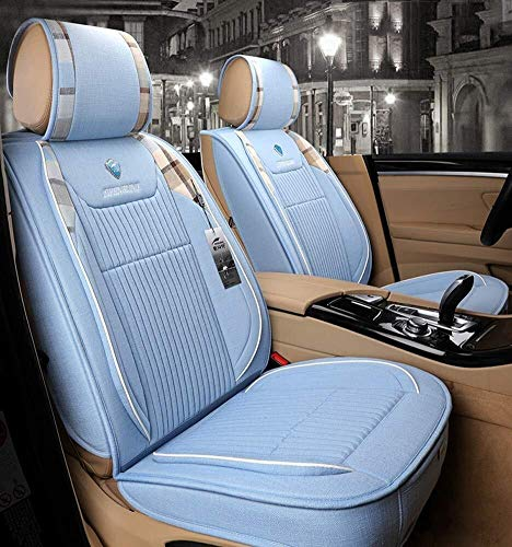 Linen Car Seat Cushion 5 Seats Full Set - Non-Slip Suede Backing Universal Fit Seat Cover For Fabric And Leather Car Seats Cushion (Color : Blue):