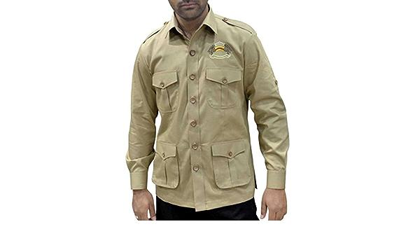 INMONARCH para hombre Safari Caza camisa con bolsillos Caqui ...