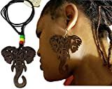 BUNFIREs 2Pcs Wood Earrings Necklace Set Natural Hair Light weight wood Woman earrings AFRICAN ELEPHANT wooden shape Jewelry (Brown)