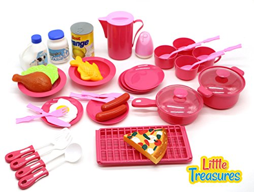 Little Treasures 40 Pcs MINI SIZED Toy Cooking Pretend Play Food Set (Kid Pot And Pan Set compare prices)
