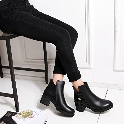 boots a Women's comfortable leather thick for BLACKDOWN ankle tassel NSXZ 120W pointed zdYn0Yq