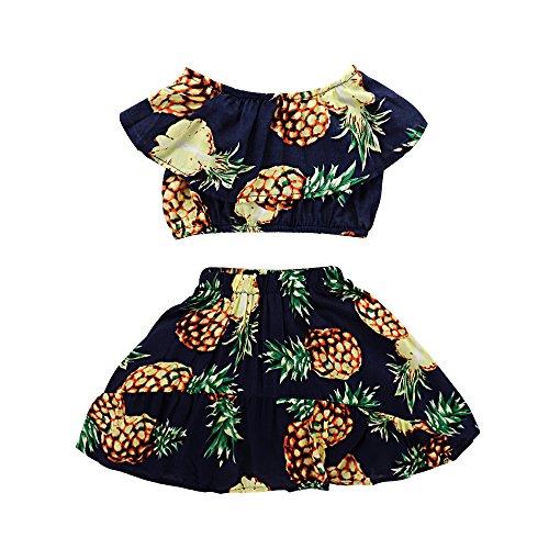 Seaby Baby Girls Pineapple Print Top and High Waist Skirt Two-Piece Set (110(2-3T), Dark Blue)