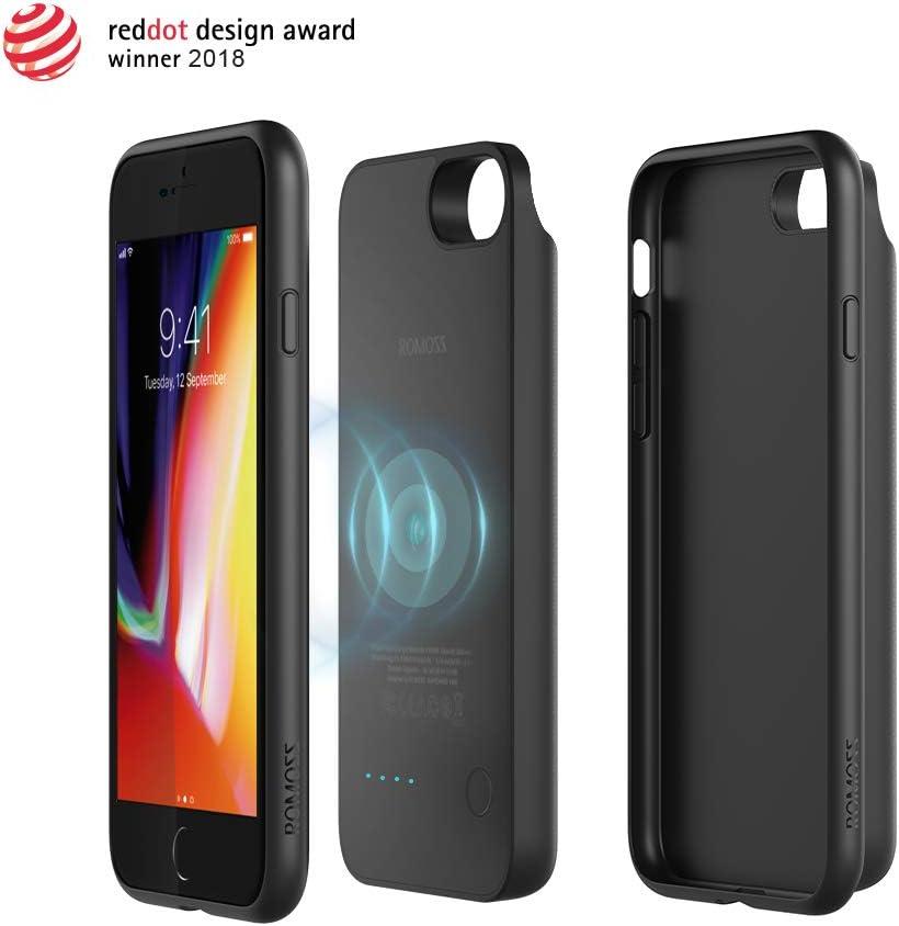 Romoss [3 en 1] Estuche de Batería Magnético Extraíble Compatible con iPhone 8 + Cargador de Batería Inductivo Qi Inalámbrico + Batería Externa 3450mAh para Otro Teléfono Inteligente
