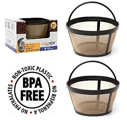 GoldTone Reusable 8-12 Cup Basket Filter fits Black & Decker Coffee Machines and Brewers. Replaces your Black+Decker Reusable Coffee Filter and Permanent Black & Decker Coffee Basket Filter (2 PACK) by GoldTone