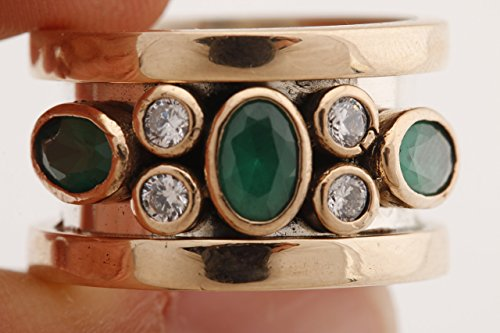 Special Design Turkish Handcrafted Jewelry Oval Cut Emerald Round Shape Topaz 925 Sterling Silver Band Ring Size Options