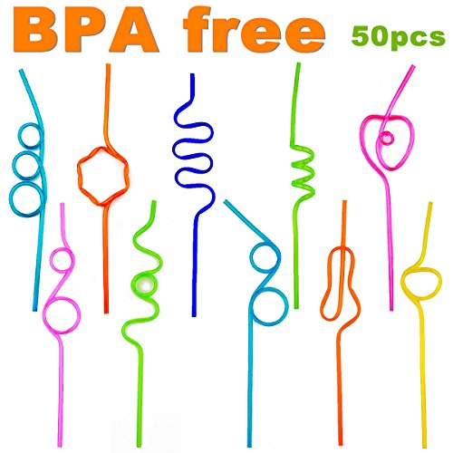 Crazy Loop Straws, ( Pack of 50, BPA FREE ) Homono Crazy Silly Colorful Reusable Drinking Straws Mega Value Pack