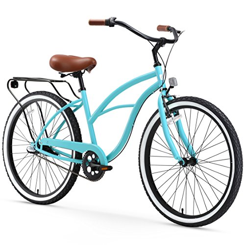 "sixthreezero Around The Block Women's 3-Speed Cruiser Bicycle, Teal Blue w/ Brown Seat/Grips, 26"" Wheels/17"" Frame"