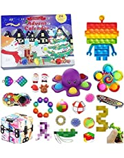 Emeili Kerst adventskalender 2021, Fidget zintuiglijke speelgoedset, blinde doos kerstspeelgoed voor Kid Countdown kalender 24 dagen kerstspeelgoed Kerstmis Countdown kalender Kerstmis Push bubbels speelgoed Pack Gift