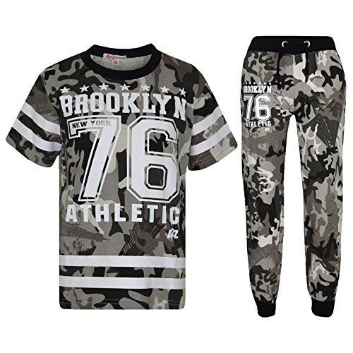 (Boys Top Kids Designer Brooklyn 76 Camouflage T Shirt Tops & Trouser Set 7-13 Yr)