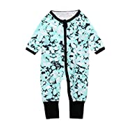 iumei Baby Girls Boys Patterned Long Sleeve Zip Front Onesies Pajamas Romper for Newborn (0-3 Months, Green)