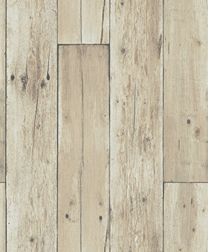 Lights Wallpaper Mural - Blooming Wall: Faux Wooden Planks Wood Panel Wallpaper Wall Mural,20.8 In32.8 Ft=57 Sq Ft,,8e026 Light Brown