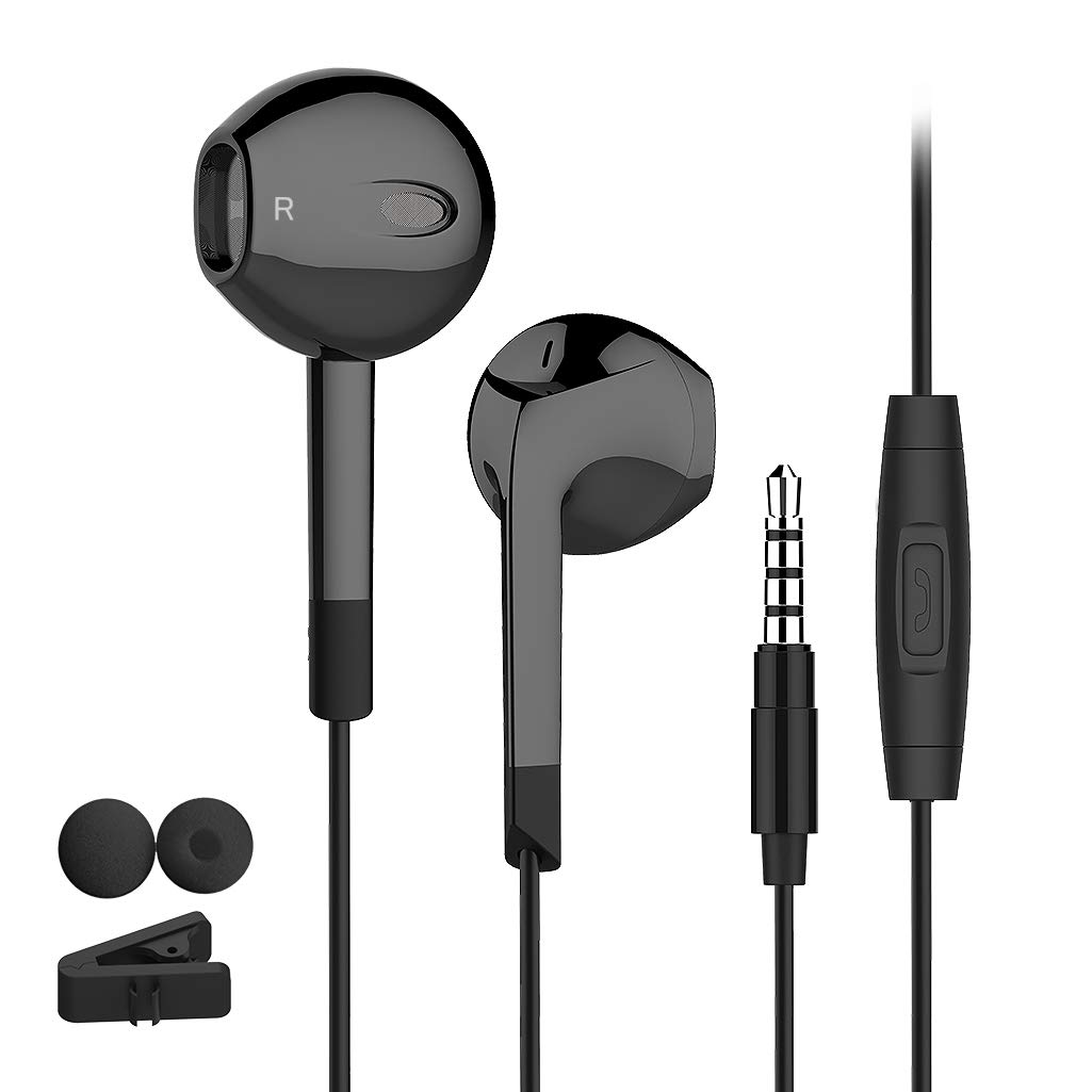 In Ear Earbuds Headphones with Control and microphone HiFi Bass Stereo Earphones for iPod iOS and More Android Smartphones