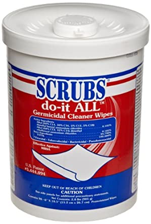 SCRUBS 98028CT do-it ALL Germicidal Cleaner Wipes, 6 x 10.5, Lemon-Lime, 90/Canister