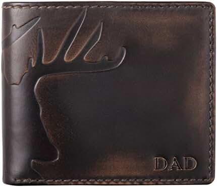 HOJ Co. DAD DEER Bifold-Personalized-Mens Leather Wallet-Hunter Gift-Dad Gift