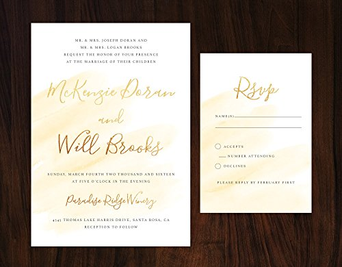Gold Watercolor Wedding Invitation, Yellow Watercolor Wedding, Unique Wedding by Alexa Nelson Prints