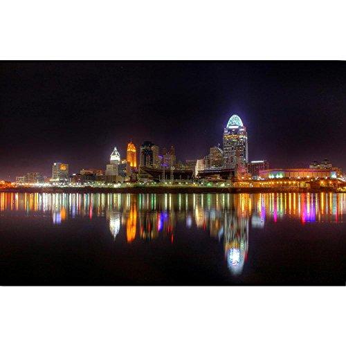 PB Cincinnati Ohio Skyline, Newport Kentucky, USA Unframed Canvas Painting 30.7 x (Cincinnati Ohio Usa Framed)