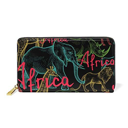 Africa Animal Elephant Leather Womens Zipper Wallets Clutch Coin Case by FENNEN
