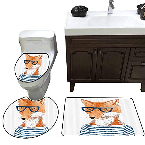 3 Piece Toilet lid Cover mat Set Modern Hipster Woman Fox with Glasses and Striped Shirt Humor Character Animal Print Pattern Rug Set Blue Orange White]()