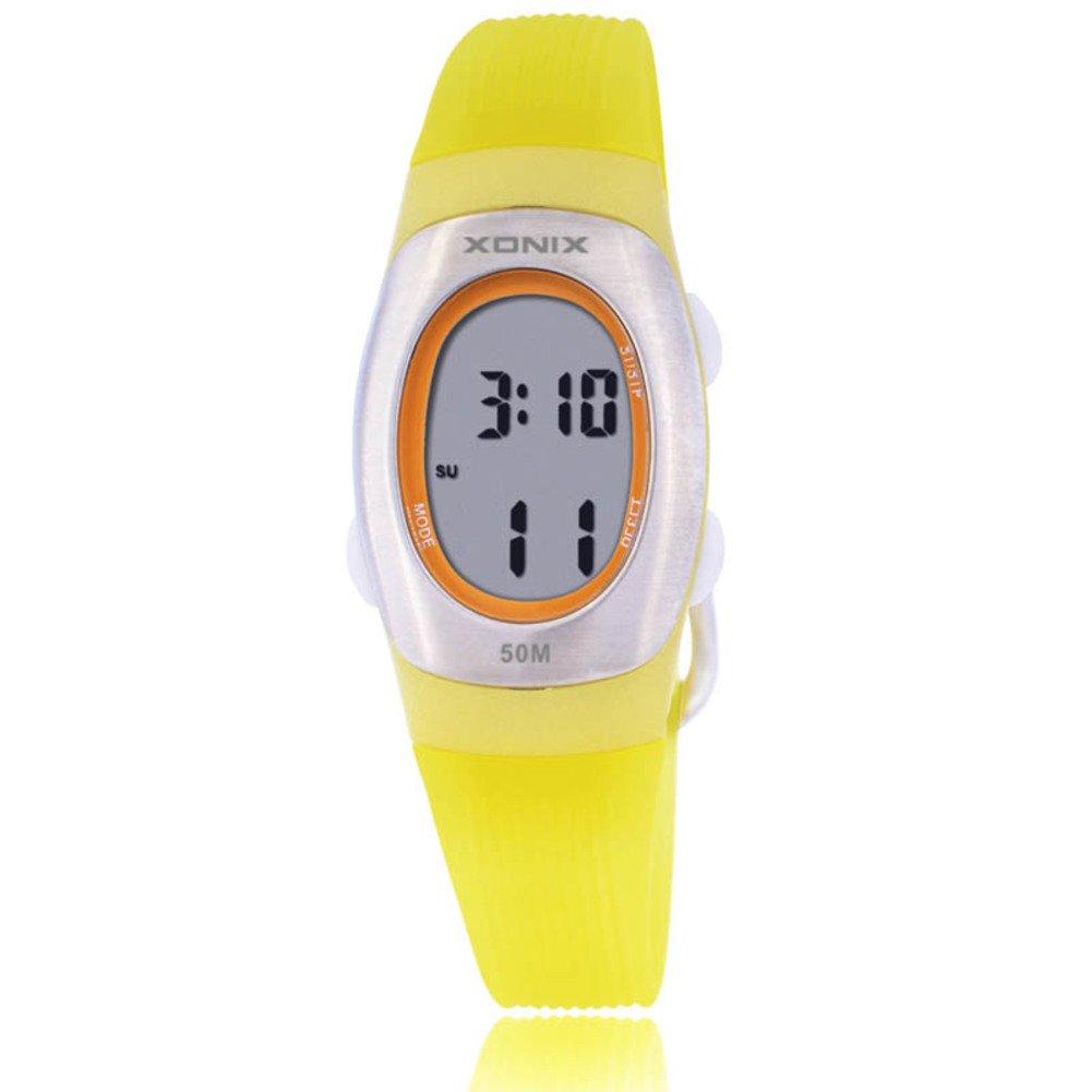 Children's multi-function digital electronic watch,Jelly 50 m waterproof resin alarm stopwatch girls or boys small simple fashion retro wristwatch-H