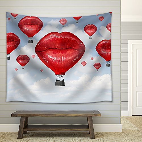 Love Balloons as a Hot Air Balloon Made of Human Red Lips Soaring Up to the Blue Sky Fabric Wall